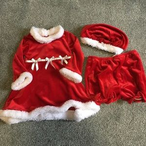 Christmas dress with matching bloomers and hat